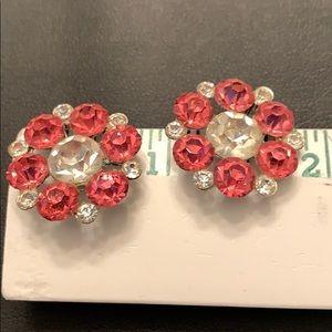 Pink & White Crystal Earrings